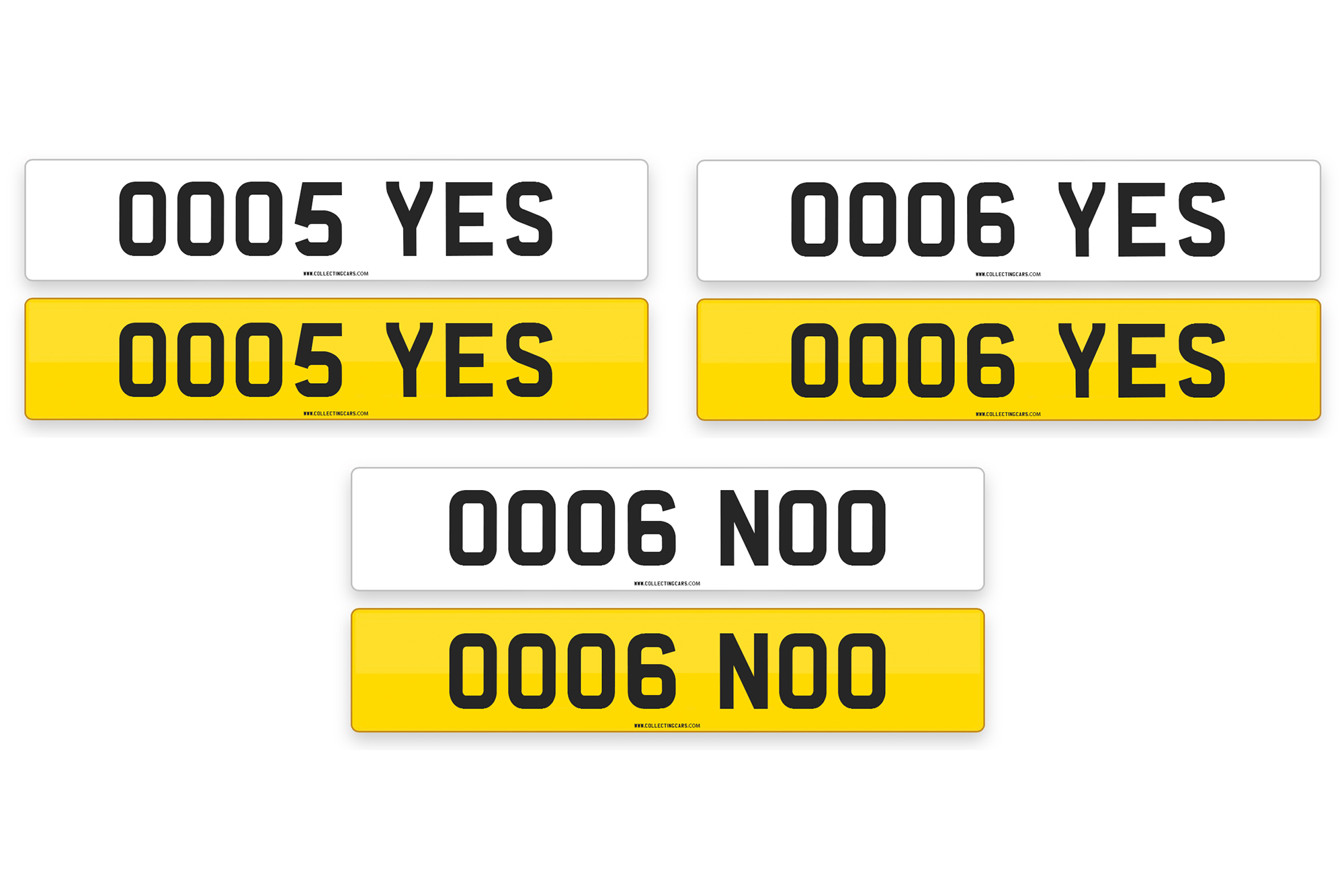 'OO05 YES', 'OO06 YES', 'OO06 NOO' - NUMBER PLATES